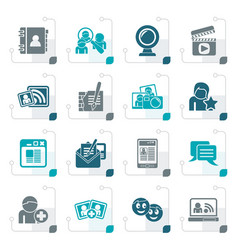 stylized social networking and communication icons vector image