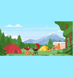 summer camping outdoor nature vector image