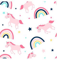 sweet unicorn pattern seamless vector image