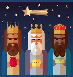 Three kings orient wise men vector