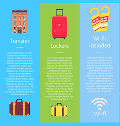 transfer locker and wi-fi set of hotel posters vector image
