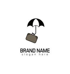 travel protectionumbrella suit case logo vector image