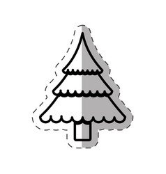 Tree pine christmas cut line vector