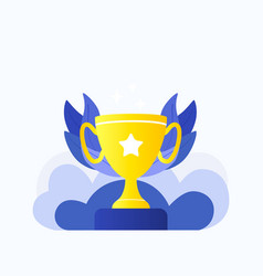 trophy winner gold cup vector image