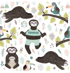 tropical seamless pattern with sloths and bird vector image