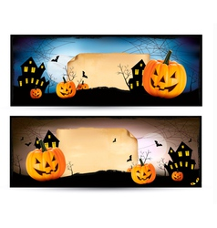 Two Halloween banners vector image