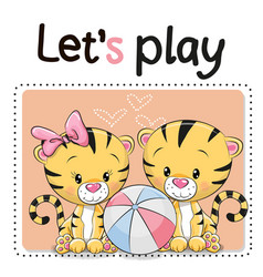 Two tigers with a ball vector
