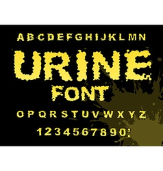 Urine font Yellow liquid ABC piss typography vector