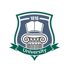 Vintage heraldic badge for university design vector image