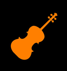 violine sign orange icon on black vector image
