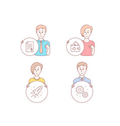 wallet startup rocket and attachment icons work vector image
