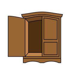 wardrobe wood retro furniture for clothes vintage vector image