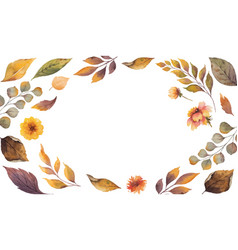 Watercolor autumn banner with fallen leaves vector