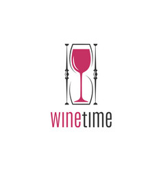 wine glass hourglass concept logo design on white vector image