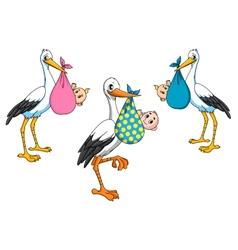 Cute cartoon storks carrying babies vector image
