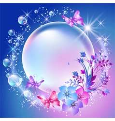 Flowers and bubbles vector image vector image