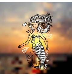 mermaid doodle style vector image
