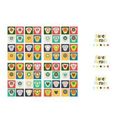 Set of superhero color flat badges emblems logos vector