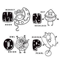 alphabet letter m n o p depicting an monkey nut vector image