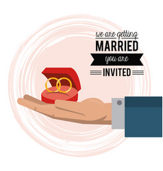 colorful card of invited of we are getting married vector image vector image