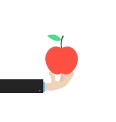 hand holding big red apple vector image vector image