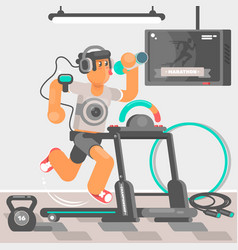 man listening to music while running on treadmill vector image