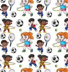 Seamless background with kids doing sports vector image vector image