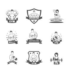 Bodybuilding fitness gym label black vector image