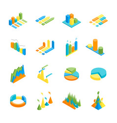 charts and graphs icon set 3d isometric view vector image vector image