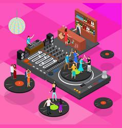 dj club bar concept 3d isometric view vector image