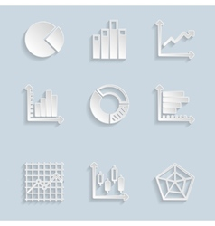 Paper Diagram Icons Set vector image