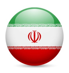 Round glossy icon of iran vector image