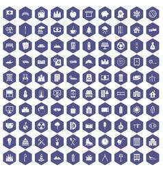 100 villa icons hexagon purple vector