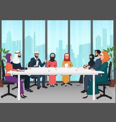 Arab business people discussing meeting modern vector