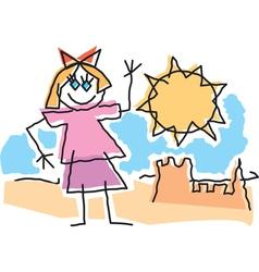 Beach Girl Drawing vector image vector image