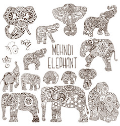 elephants in the style of mehendi vector image vector image