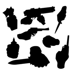 hand firing with gun black silhouette protection vector image