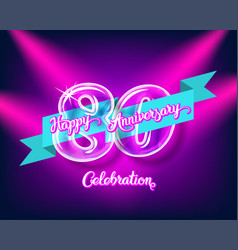 happy 80th anniversary glass bulb numbers set vector image vector image
