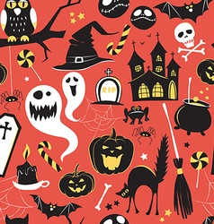 Seamless pattern Of Vintage Happy Halloween flat vector image