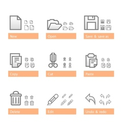 universal software icon set standart part vector image vector image