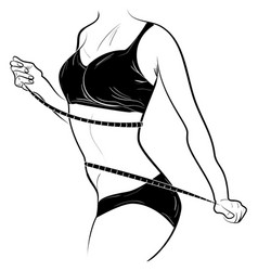 young slender female measures the waist by tape vector image