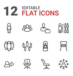 12 manager icons vector