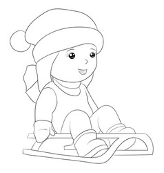 a children coloring bookpage girl on sledge vector image