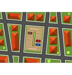 Aerial view of neighborhood with houses vector