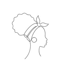 African girl in profile with curly hair bun vector