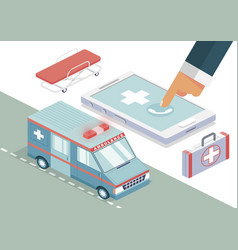 ambulance call isometric background vector image