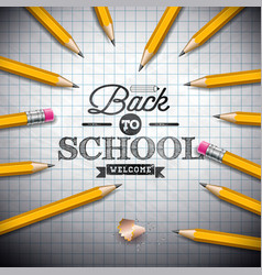 back to school design with graphite pencil and vector image