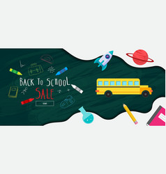 back to school sale banner poster flat design vector image