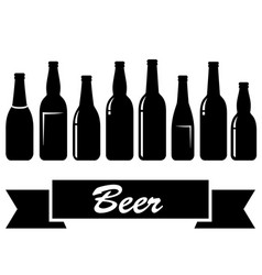 black glossy isolated beer bottles vector image