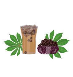 Bubble tea tapioca pearls and cassava leaf vector